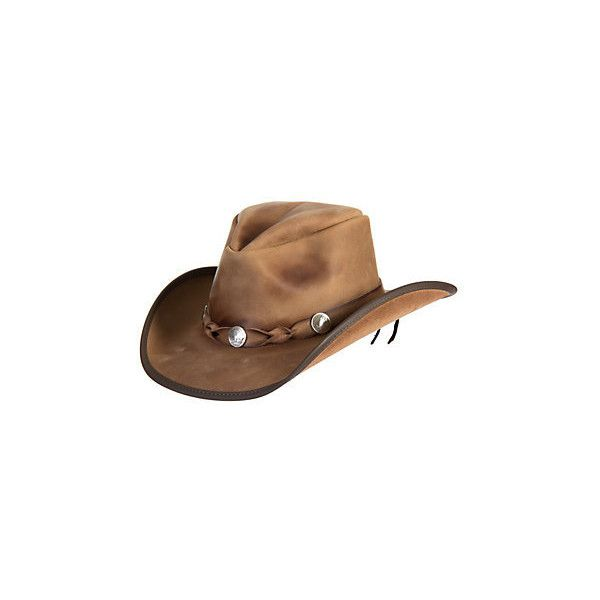 Comstock Buffalo Nickel Leather Cowboy Hat ( 185) ❤ liked on Polyvore  featuring accessories 49b5e7ed67a8