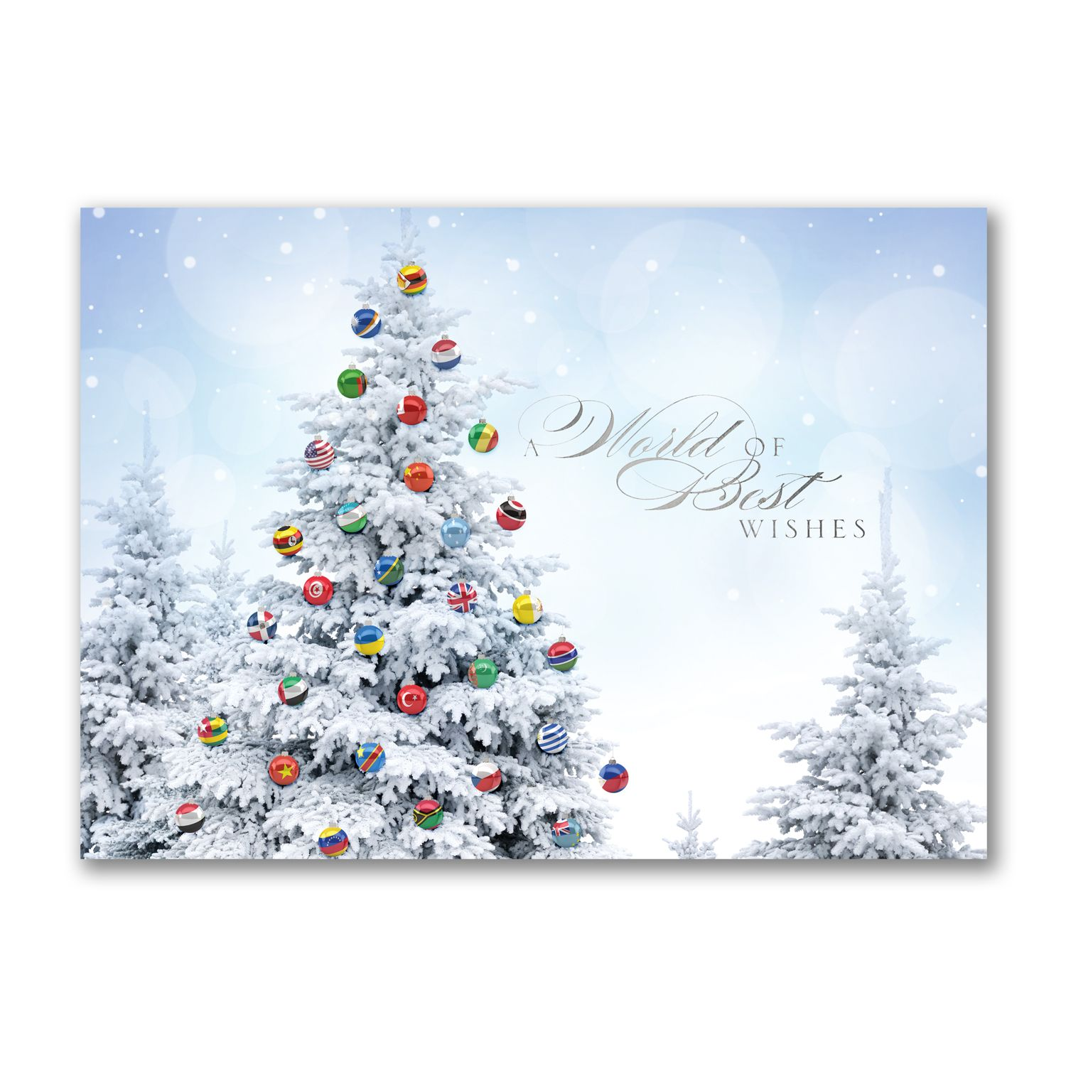 Joined together international holiday cards httppartyblock joined together to send a world of best wishes a snowy tree is decorated with flagged ornaments from around the world on this holiday card kristyandbryce Image collections