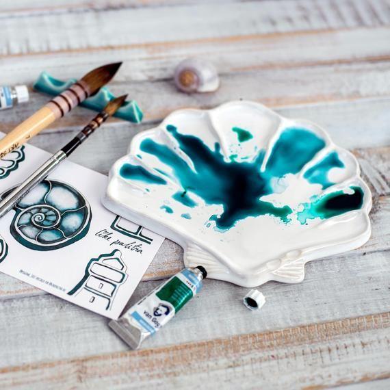 Watercolor Palette Clay Scallop White Color Mixing Tray Ceramic Glazed Acrylic Gouache Gifts For Painters En 2020 Acuarela Disenos De Unas Pinturas