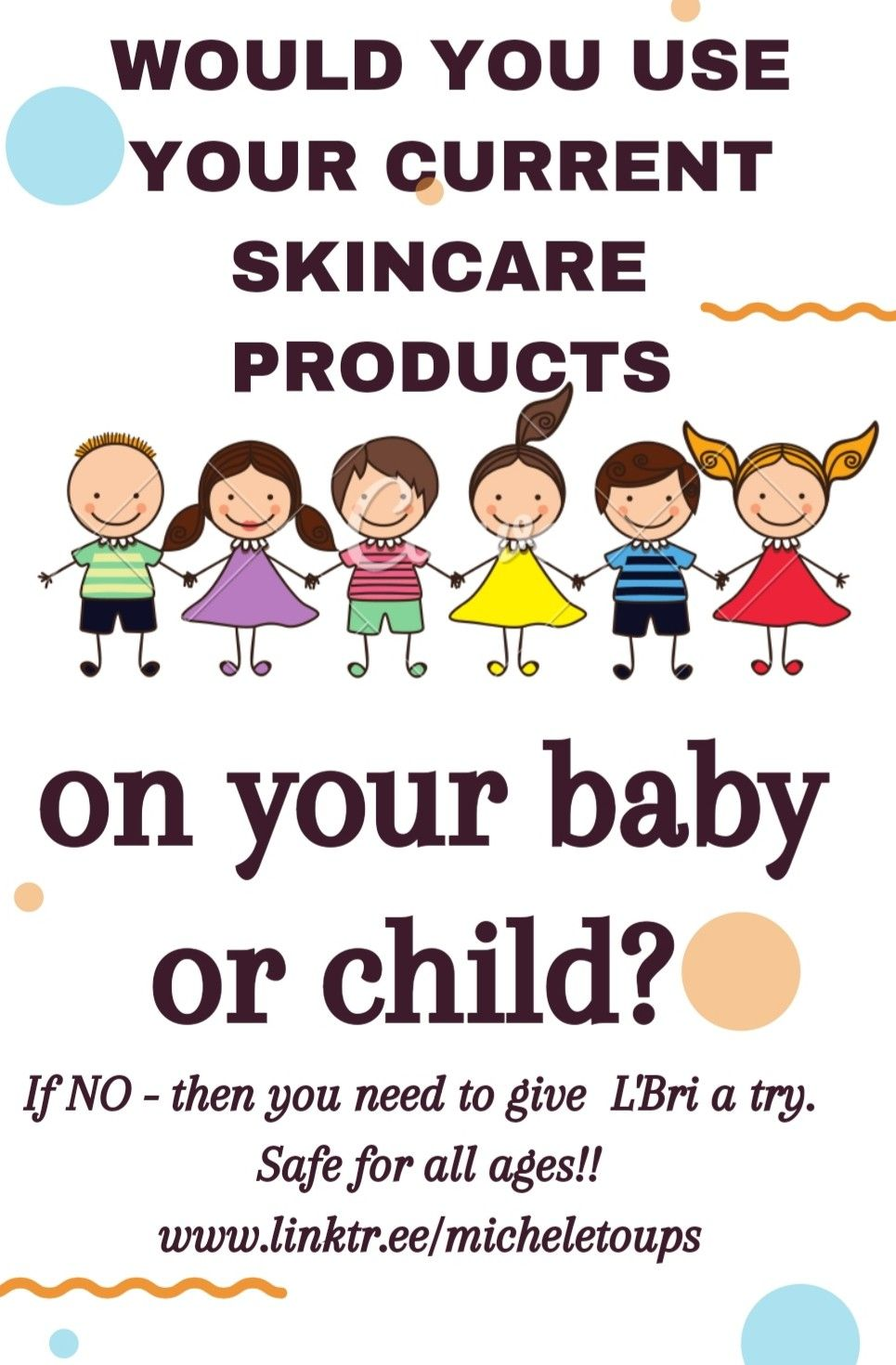 L'Bri products are suitable for all ages. Birth and up! If you wouldn't use your current regimen on your infant, why use it on you?! Safe for all! Message me about your free samples! #lbriforlife #lbripureandnatural #noanimalcruelty #bestyouever #antiaging #askmehow #bestyouever #psoriasis #eczema #antiaging #skincaregoals #safeforall #babysafe