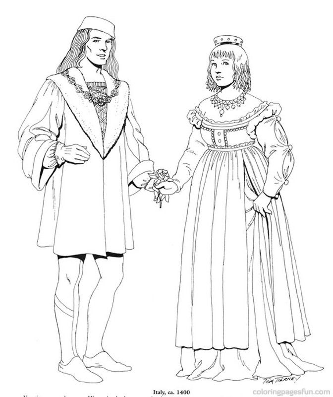 Renaissance Costumes and Clothing Coloring Pages 2