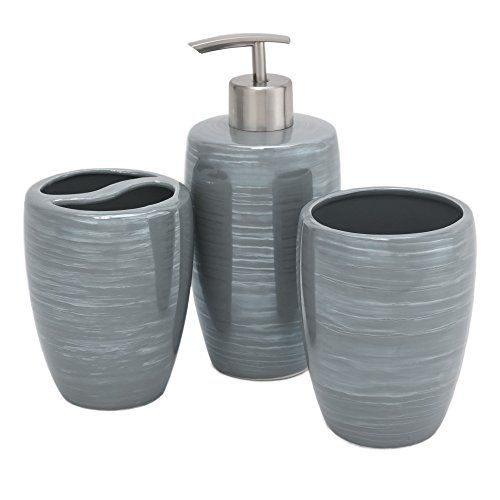 Kiera Grace Mia 3 Piece Ceramic Bath Accessories Set Grey Bath Accessories Set Bath Accessories Ceramic Accessory
