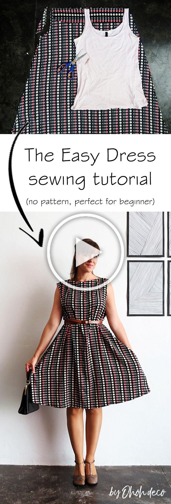 The easy dress sewing tutorial no pattern perfect for beginner who want to make a simple garment piece