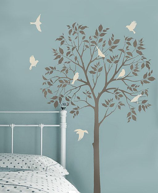Stencil Da Parete Albero.Large Tree And Birds Stencils Reusable Stencils For Diy