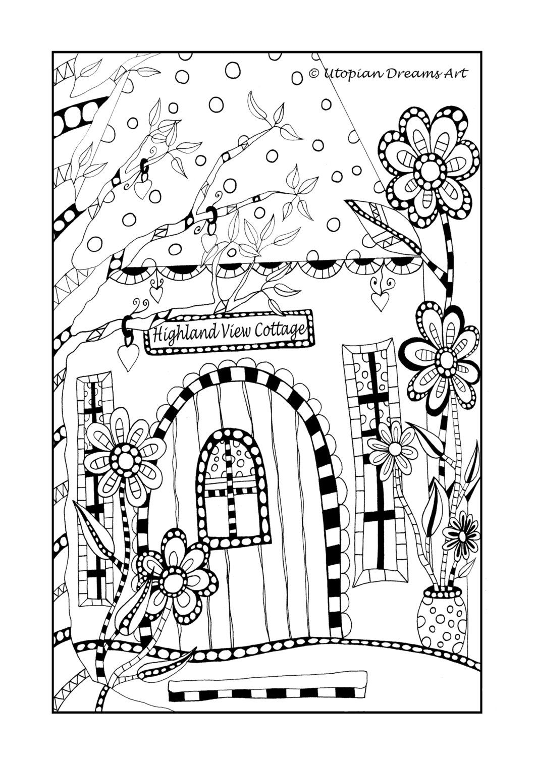 Funky House Colouring Page Whimsical House Hand Drawn