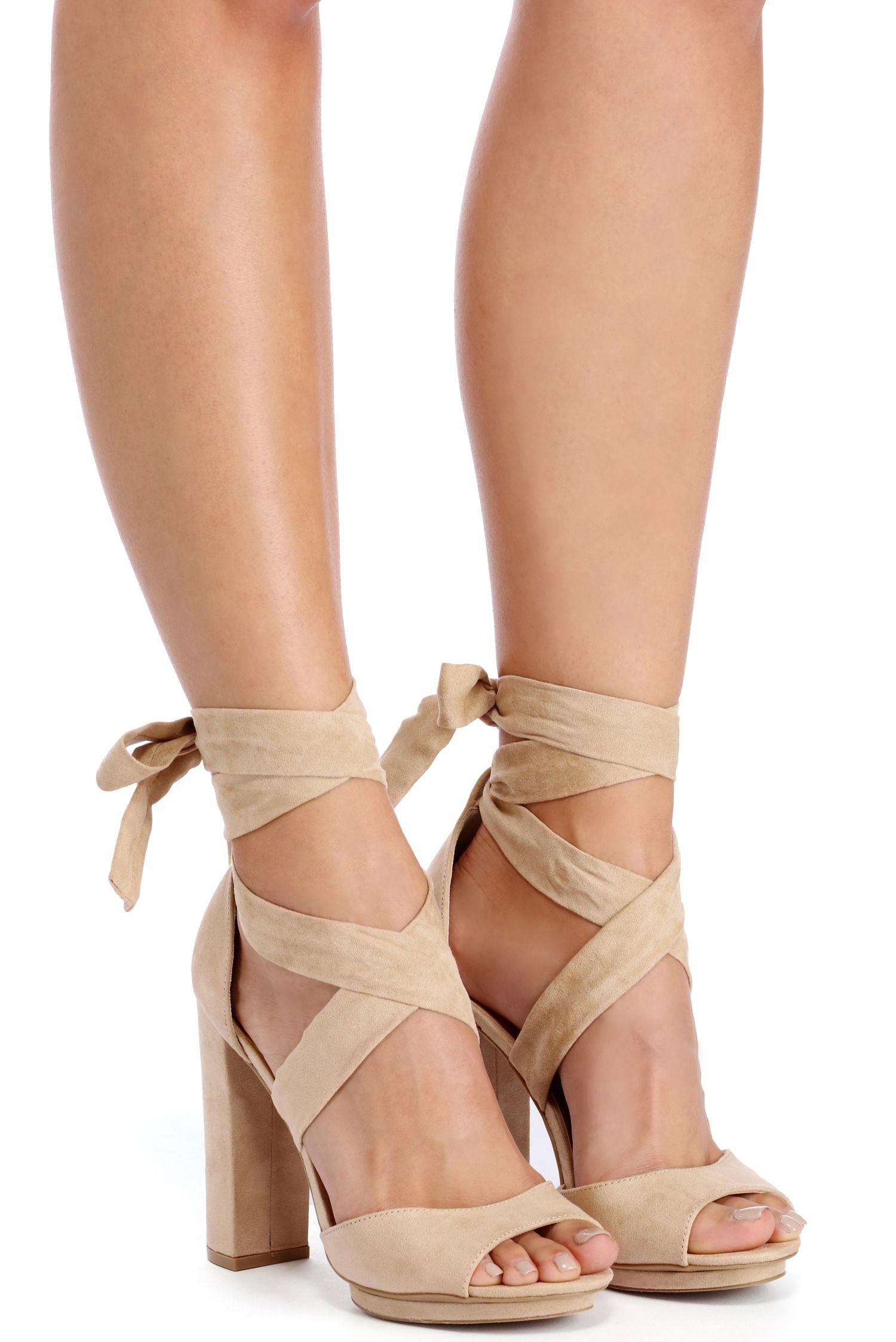 49a02baeea Natural Wrap Around Platform Heels