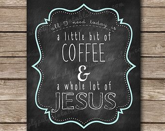 Jesus Wall Art coffee and jesus wall decor | kitchen wall art | chalkboard print