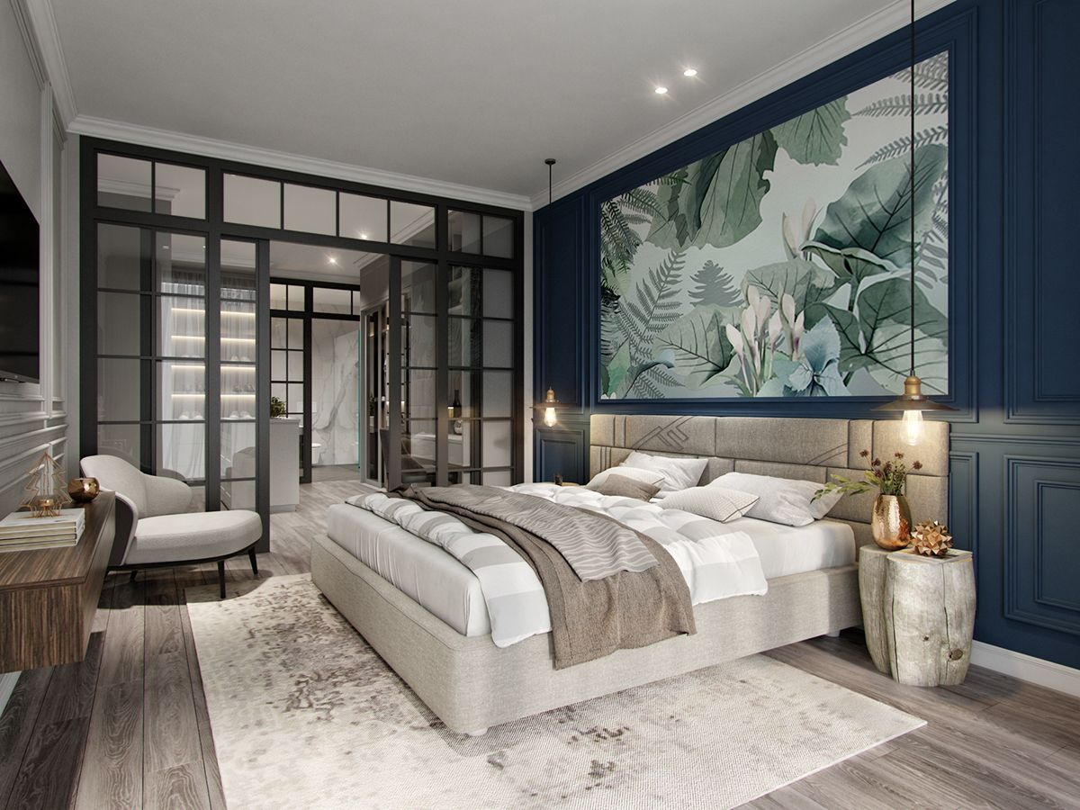 APARTMENT 100 m2 on Behance Projekty sypialni, Sypialnie