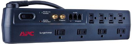 Apc 8 Outlet Surge Protector 2525 Joules With Telephone Dsl And Coaxial Protection Surgearrest P8vt3 Surge Protector Surge Protectors