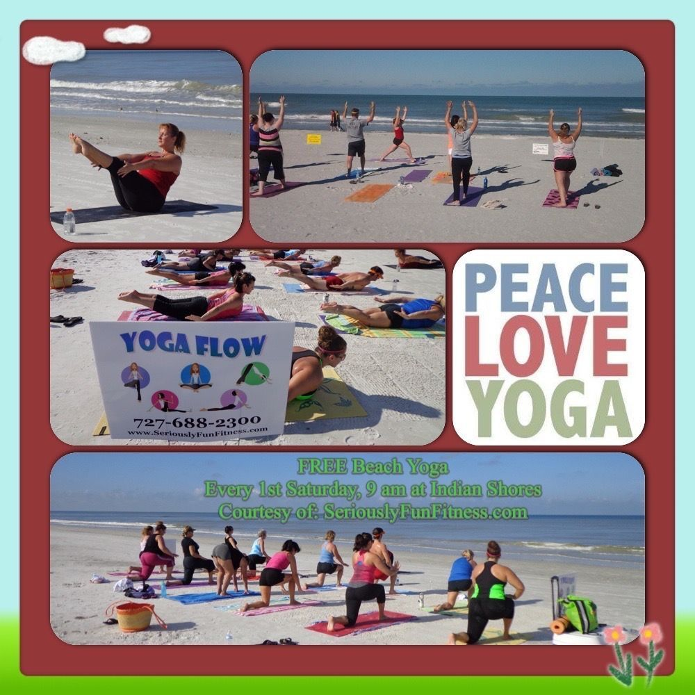 Guess what happens every first Saturday at 9 am Free Beach Yoga on