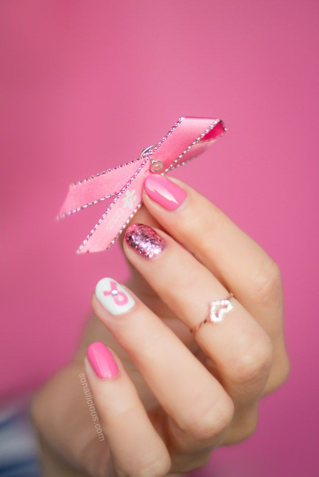 Pink Ribbon Nails | Easy nail art designs, Pink ribbons and Easy ...