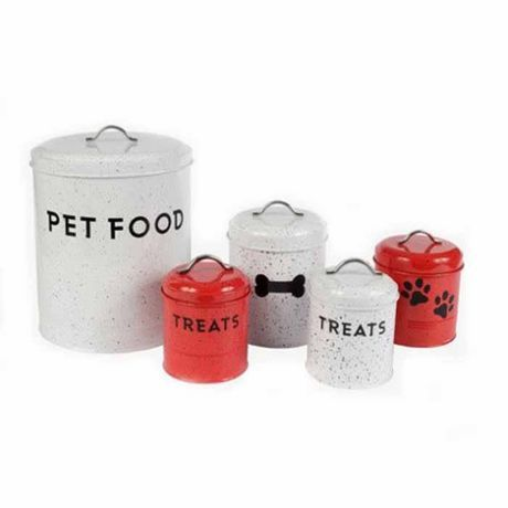 Robely Roxy Splatter Print Set Of Pet Canisters Red And White
