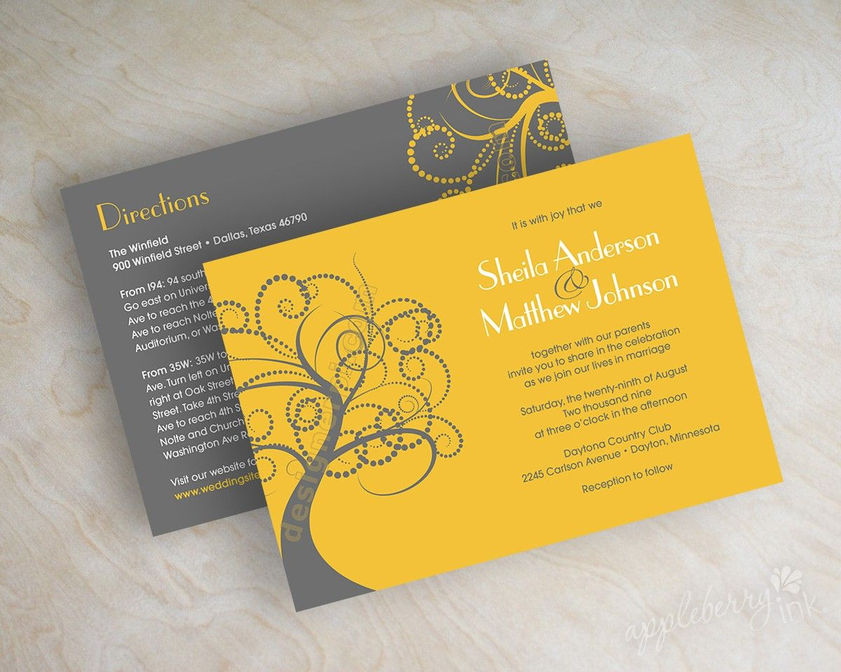 Swirly Tree Branch Wedding Invitation, Tree Silhouette Wedding ...