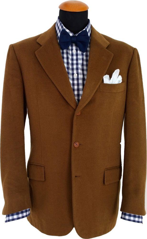 Mens Kiton Napoli Blazer size 44R Sport Coat Jacket Cashmere Camel Caramel 54 EU #Kiton #ThreeButton