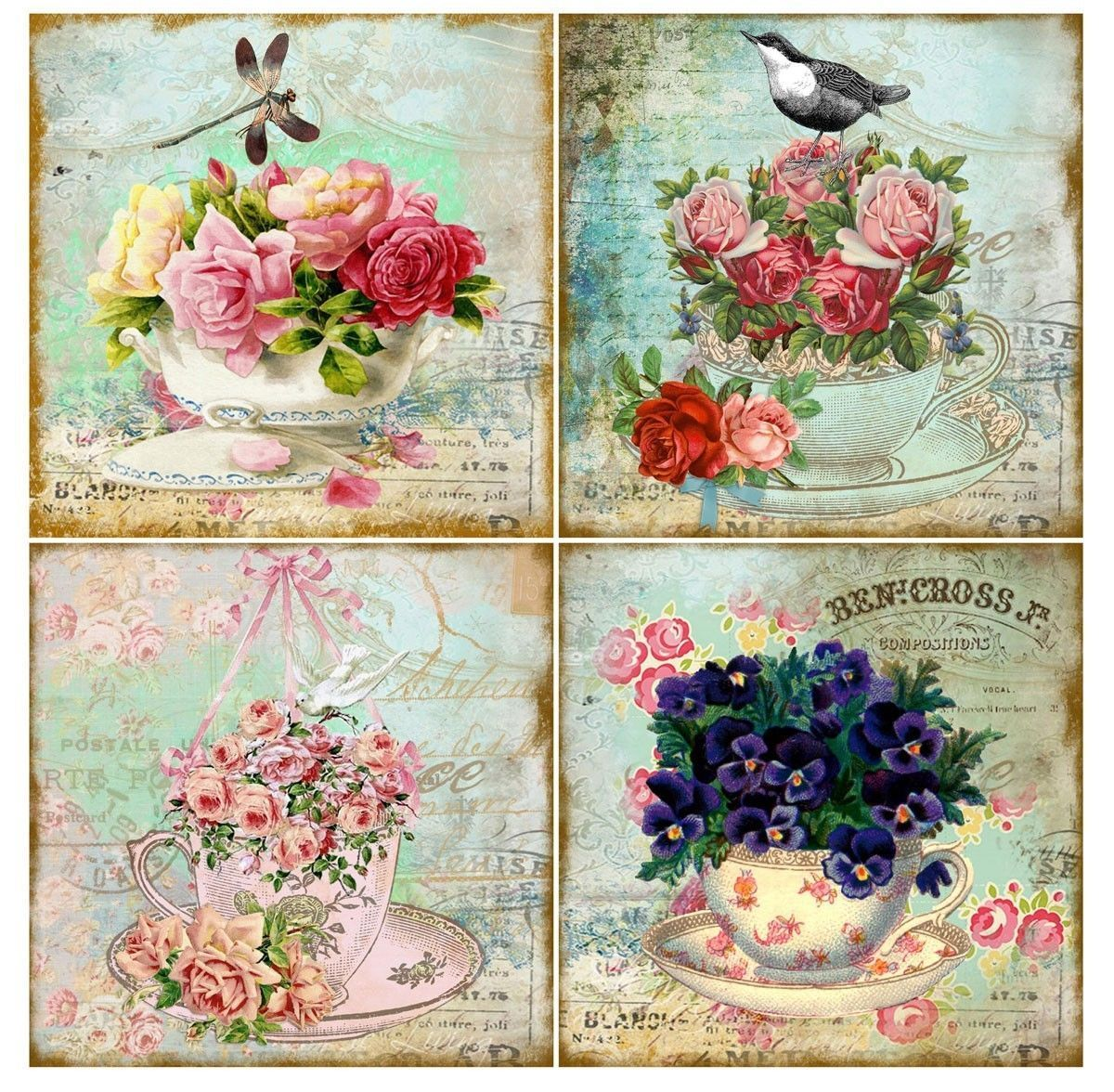Vintage inspired tea cup cards altered art set of 8 dragonfly ...