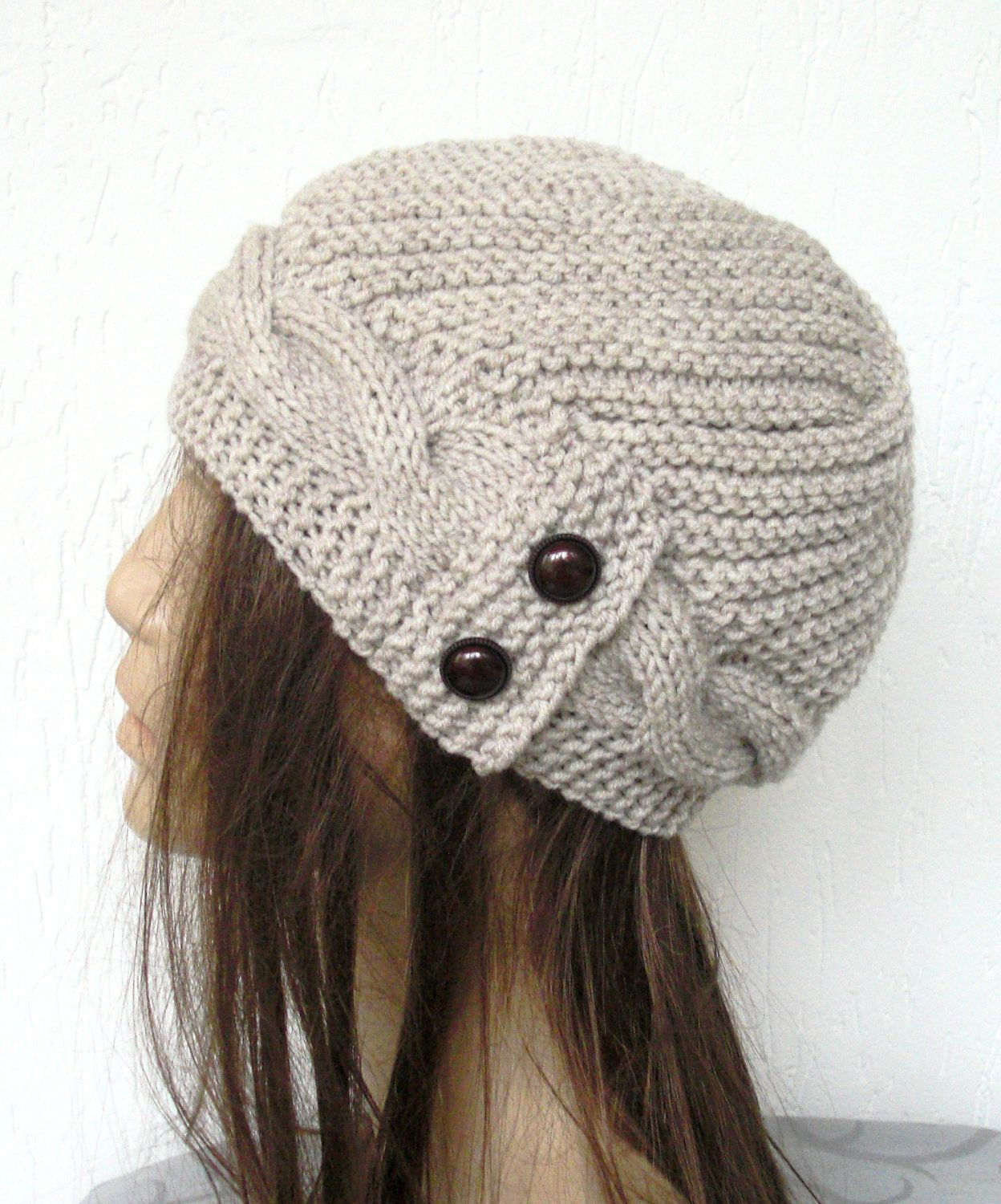 Hand Knit Hat- winter hat - Womens hat Cloche hat in Oatmeal Beige Winter  Accessories Fall Autumn Winter Fashion Cable knit hat.  35.00 41c8703e825