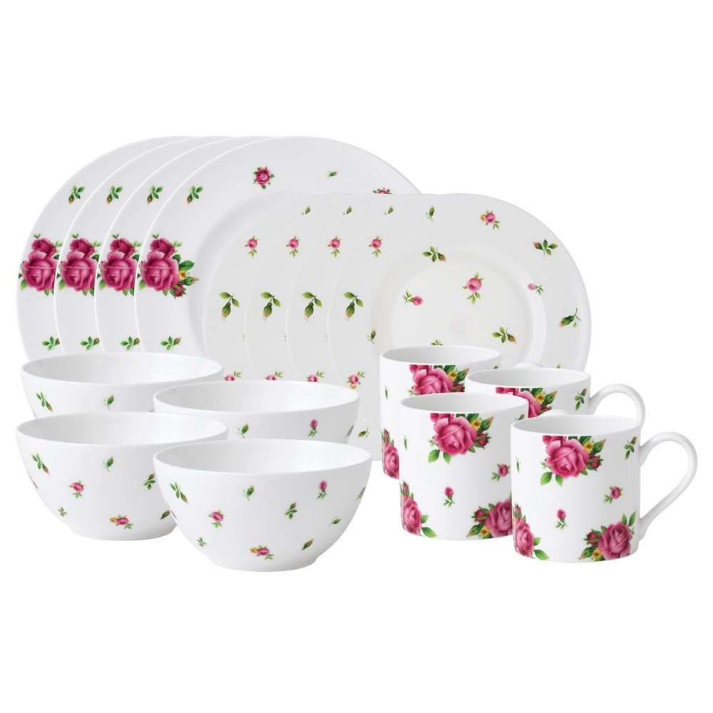 Royal Albert New Country Roses White Modern Casual 16-piece Dinnerware Set | Overstock.  sc 1 st  Pinterest & Royal Albert New Country Roses White Modern Casual 16-piece ...