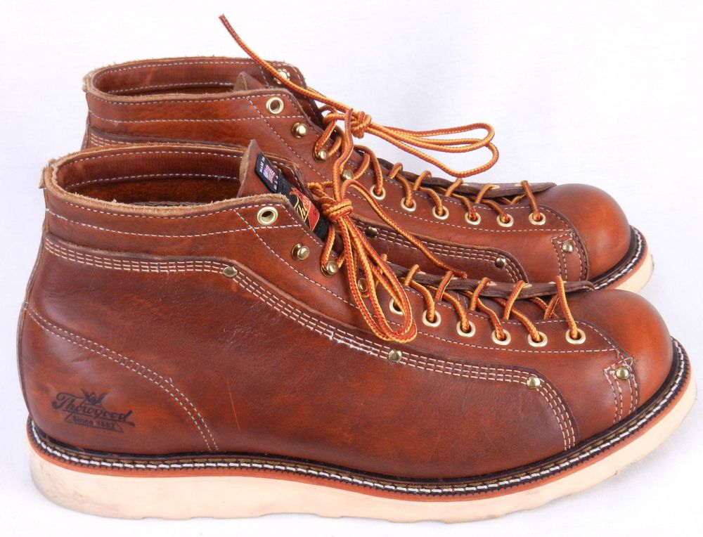 d1f504853d5 THOROGOOD Tan Brown Leather Lace Up Roofer Ankle Boots Size 11.5 D ...