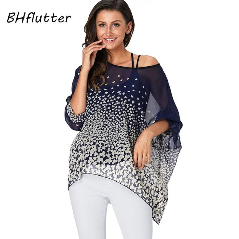 fa7c59988507b BH flutter 4XL 5XL 6XL Plus Size 2019 Sexy Off Shoulder Summer Tops Tunic  Gender  Women Material  Polyester Pattern Type  Print Sleeve Length(cm)  ...