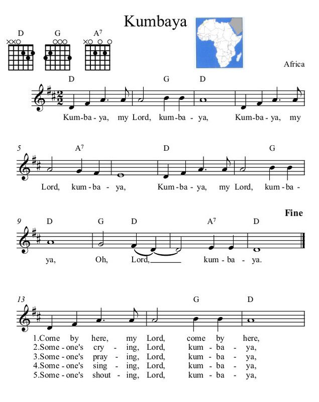 Three-Chord Song with Melody- Kumbaya -African | MUSIC | Pinterest ...