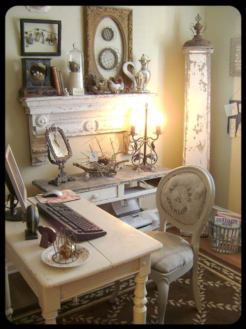 cool shabby chic home office decor | Wow, this just inspired me to renew my home office space ...