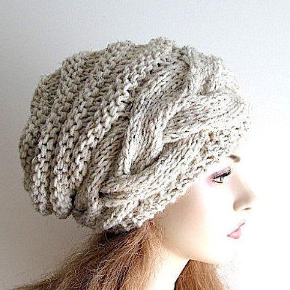 Tuque bonnet Slouch laine ruche chapeaux câble tressé femmes ...