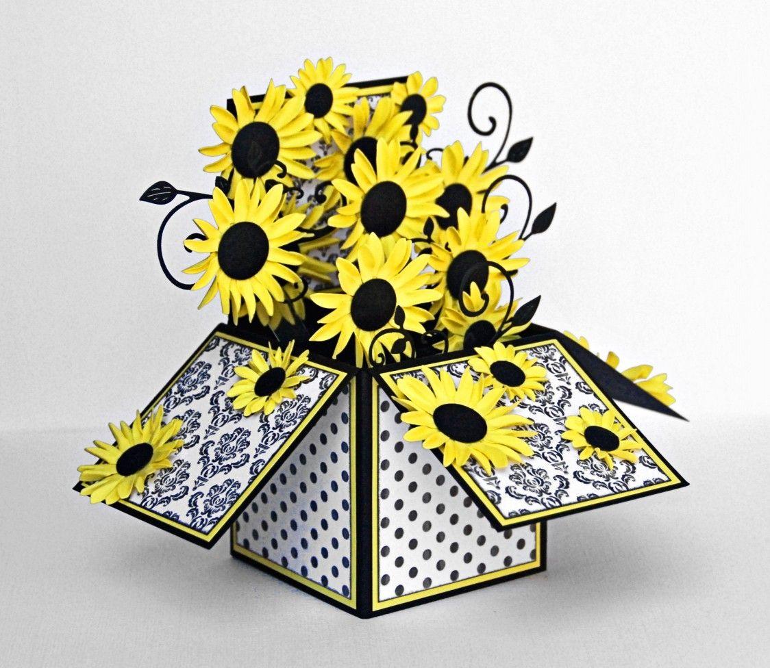 sunflowers card in a box pop up card box 3d karten karten basteln und explosionsboxen. Black Bedroom Furniture Sets. Home Design Ideas