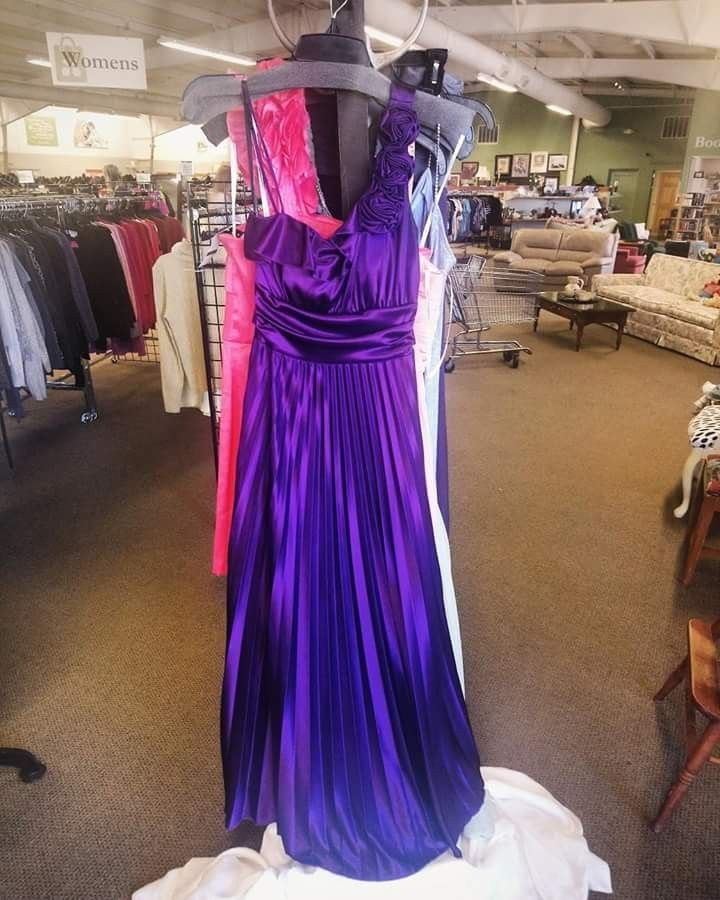 A bright purple one shoulder prom dress. @Bethany\'s Thrift Store ...