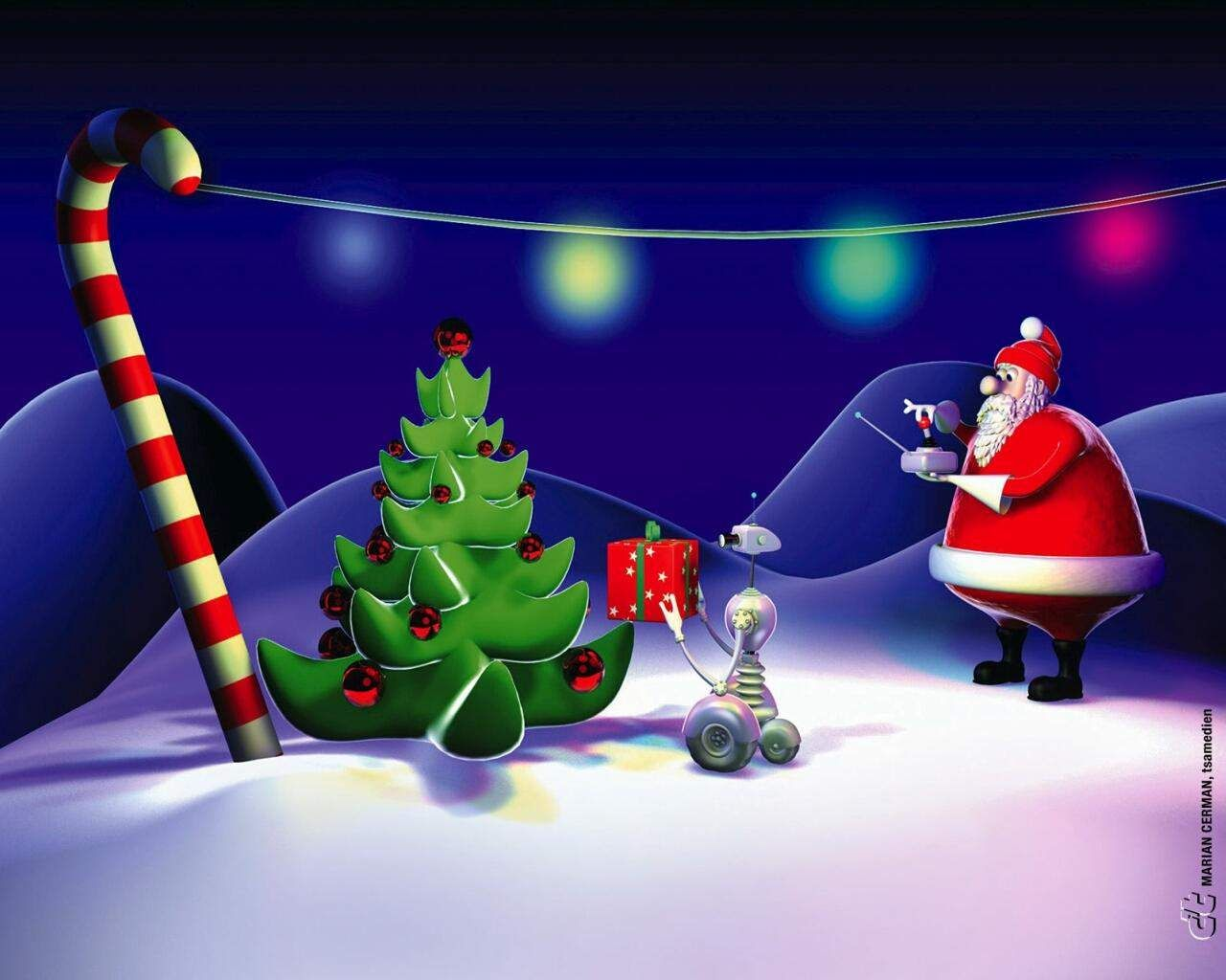 New Santa Animated Merry Christmas HD Wallpaper With