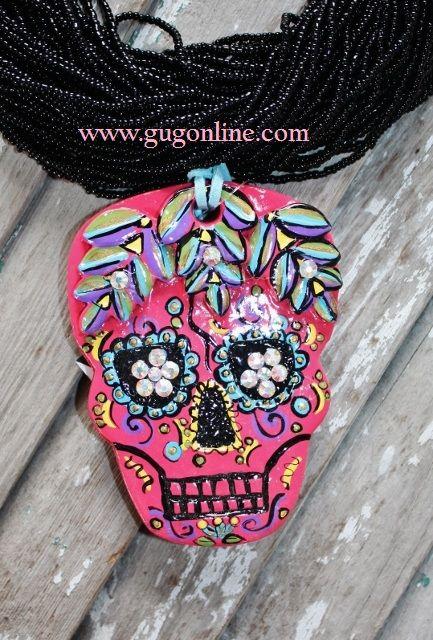 Dia de los Muertos Hot Pink Sugar Skull $44.95 www.gugonline.com