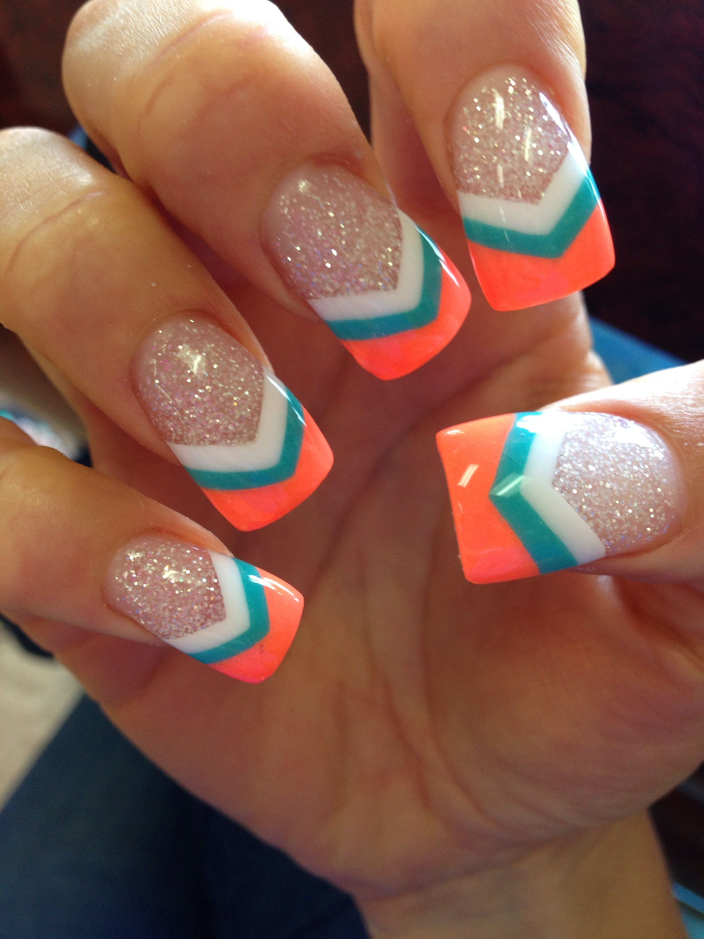 White Teal Neon Coral V Tip Nails For Hawaii Nail Designs Nails Nail Art Designs
