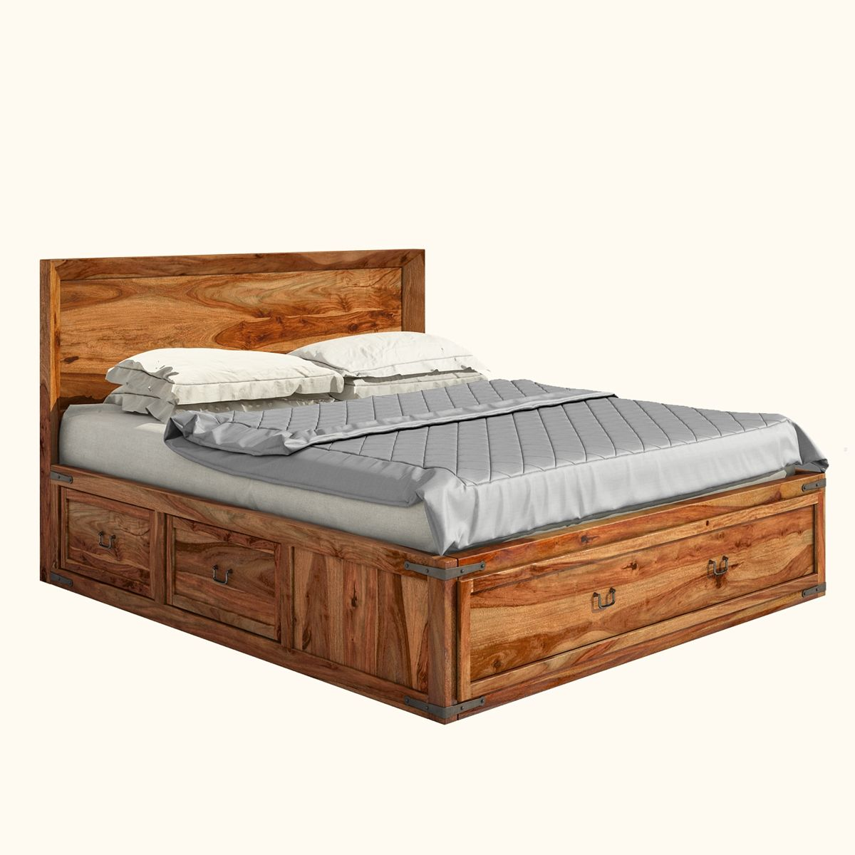 Classic Shaker Solid Wood Platform Captain 39 S Bed W 2 End