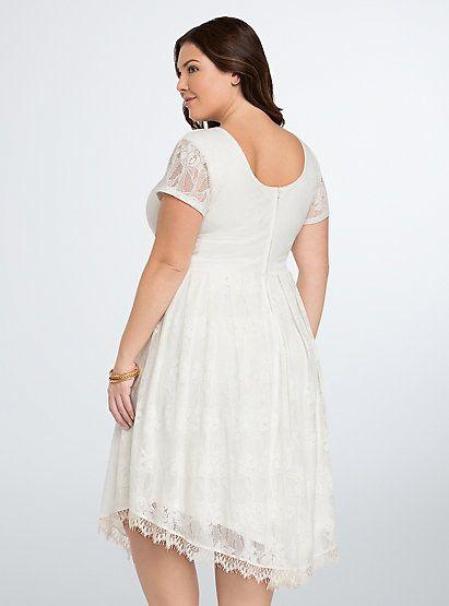 Lace V-Hem DressPlus Size Lace V-Hem Dress, CLOUD DANCER