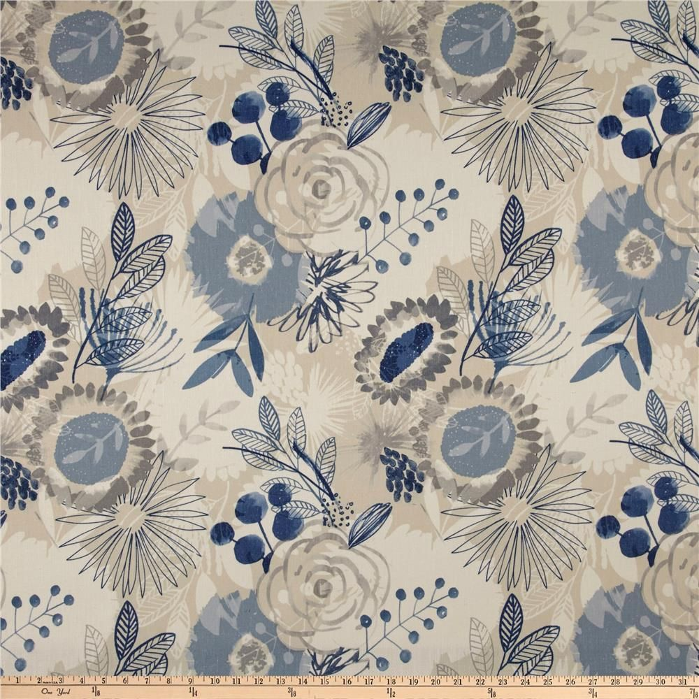 Home Decor Heavy Upholstery Blue Flower Pedal Fabric by the Yard