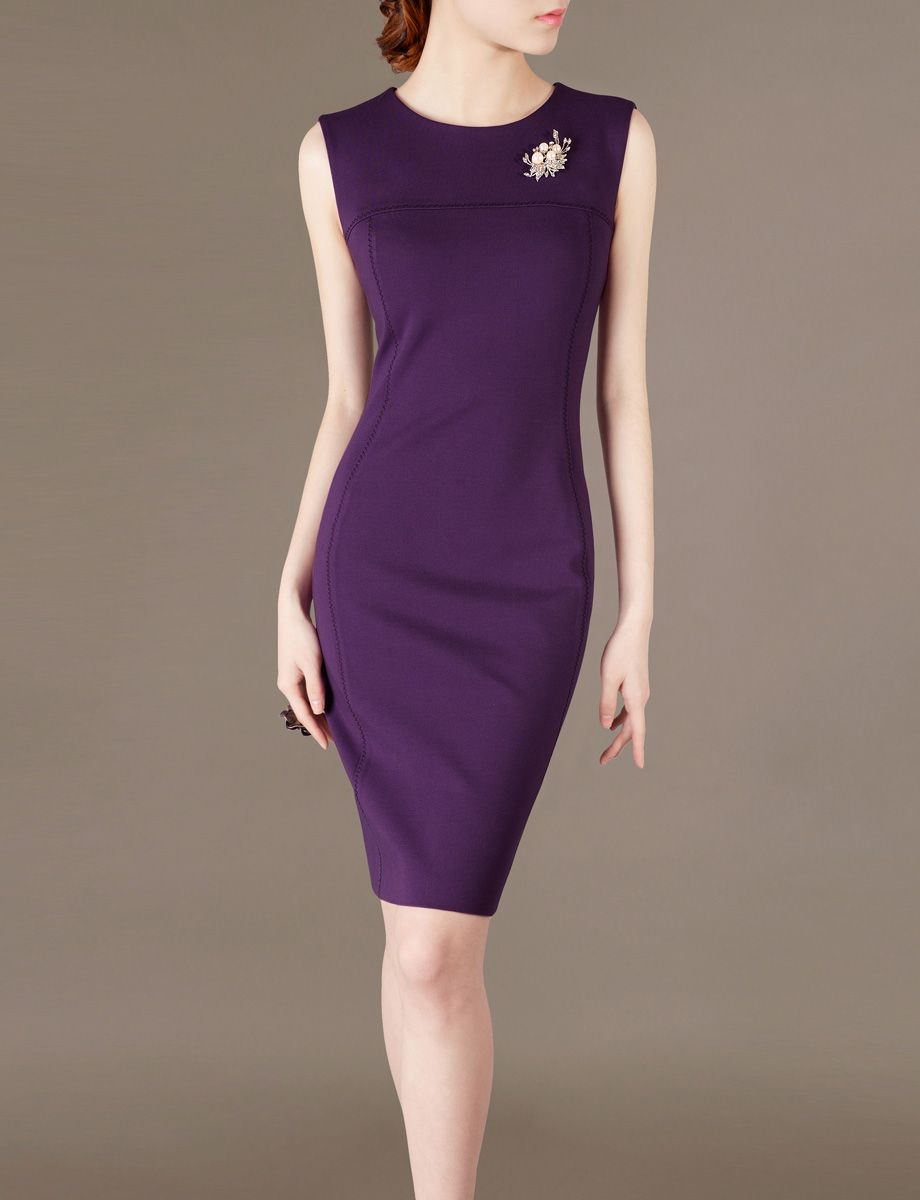 Chieflady Business Attire Purple Working Dress Chic Office Wear ...