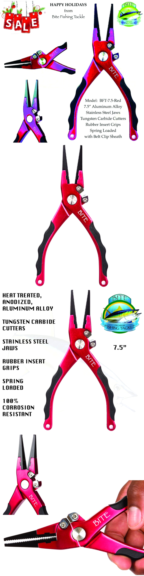 Pliers and Hook Removers 179997: 2017 Sale - Bite Professional Aluminum Saltwater Fishing Pliers -Spring Loaded-R -> BUY IT NOW ONLY: $117.39 on eBay!