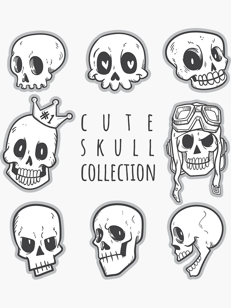 Cute Skull Collection Sticker By Kanae19 In 2020 Skull Art Drawing Skulls Drawing Skull Sketch
