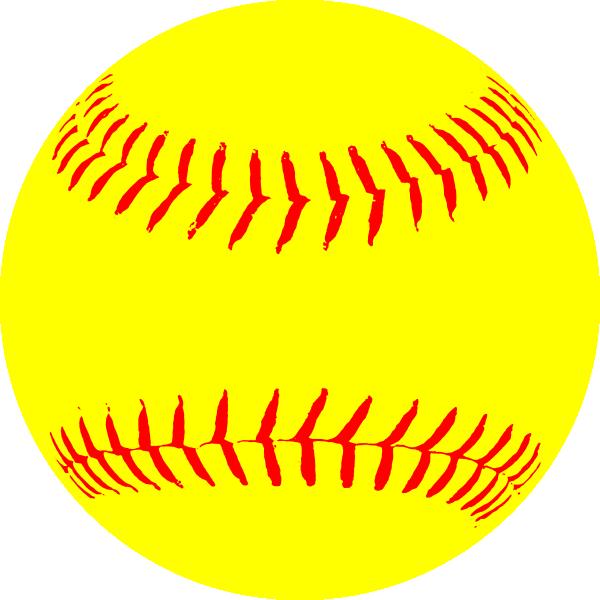 Softball vector. Yellow paintings clip art