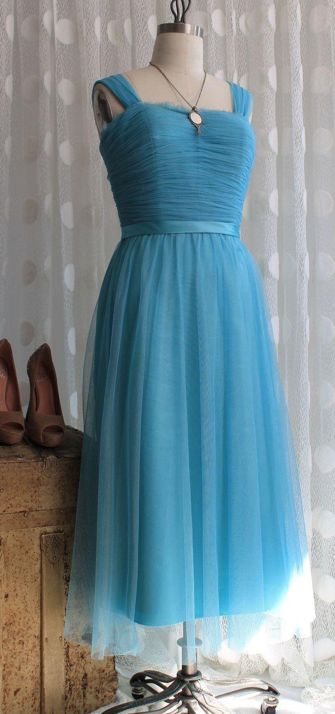 Vintage Bill Levkoff Tiffany Blue Tulle Party Dress | Vintage, Blue ...