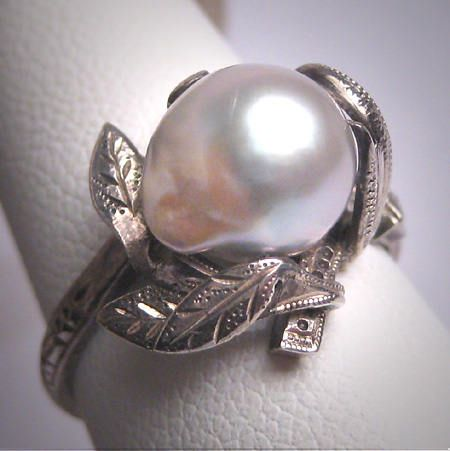 Antique Baroque Pearl Wedding Ring Vintage Victorian Art Deco 1920
