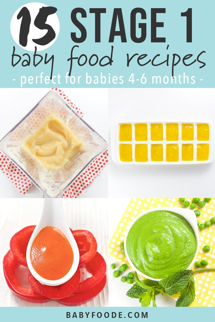 15 stage one baby food recipes that will tempt your baby's taste buds! These easy homemade baby food purees are made with nutrient dense whole fruits and vegetables with an added pinch of spice. They're the perfect starter purees to introduce to babies 4-6 months old and taste out-of-this-world delicious! #baby #babyfood #stageone #homemadebabyfood #healthybabyfood