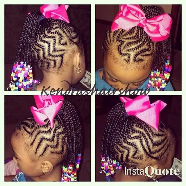Zig Zag French Braids Going Up Into A Ponytail Little Girl Braids African Braids Hairstyles Lil Girl Hairstyles