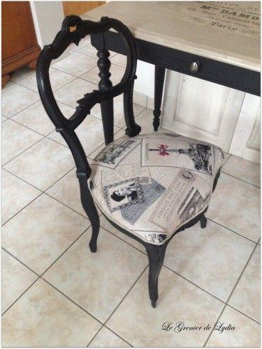 Deux chaises anciennes de style louis xv la premi re patin e noire avec sa petite table de - Style chaises anciennes ...