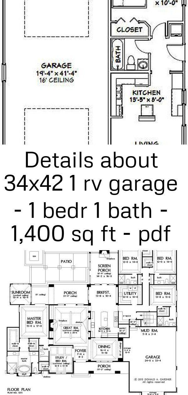 Details about 34x42 1 rv garage  1 bedr 1 bath  1400 sq ft  pdf floor plan  model 2d 2 34x42 1 RV Garage  1 Bedr 1 Bath  1400 sq ft  PDF Floor Plan  Model 2D  eBay Plan o...