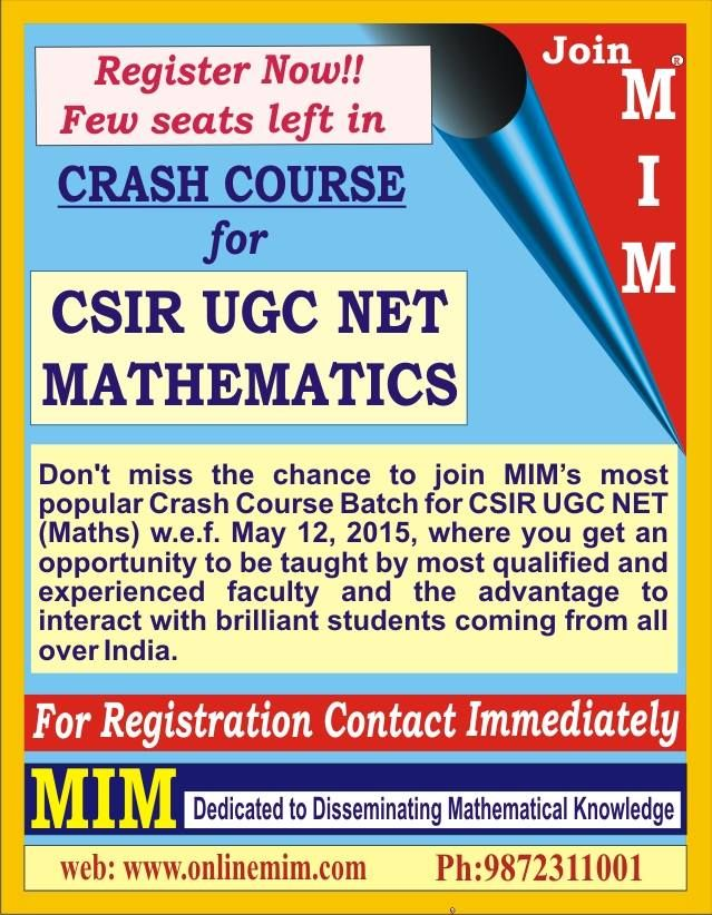 MIM is the oldest Institute of Mathematics, MCA, UGC Maths NET and ...