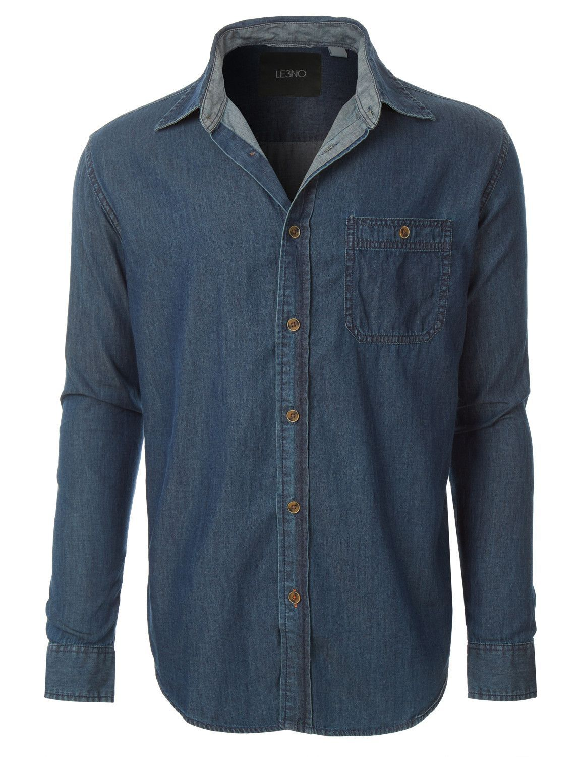 cc2a819917 This vintage long sleeve button down denim shirt offers the authentic