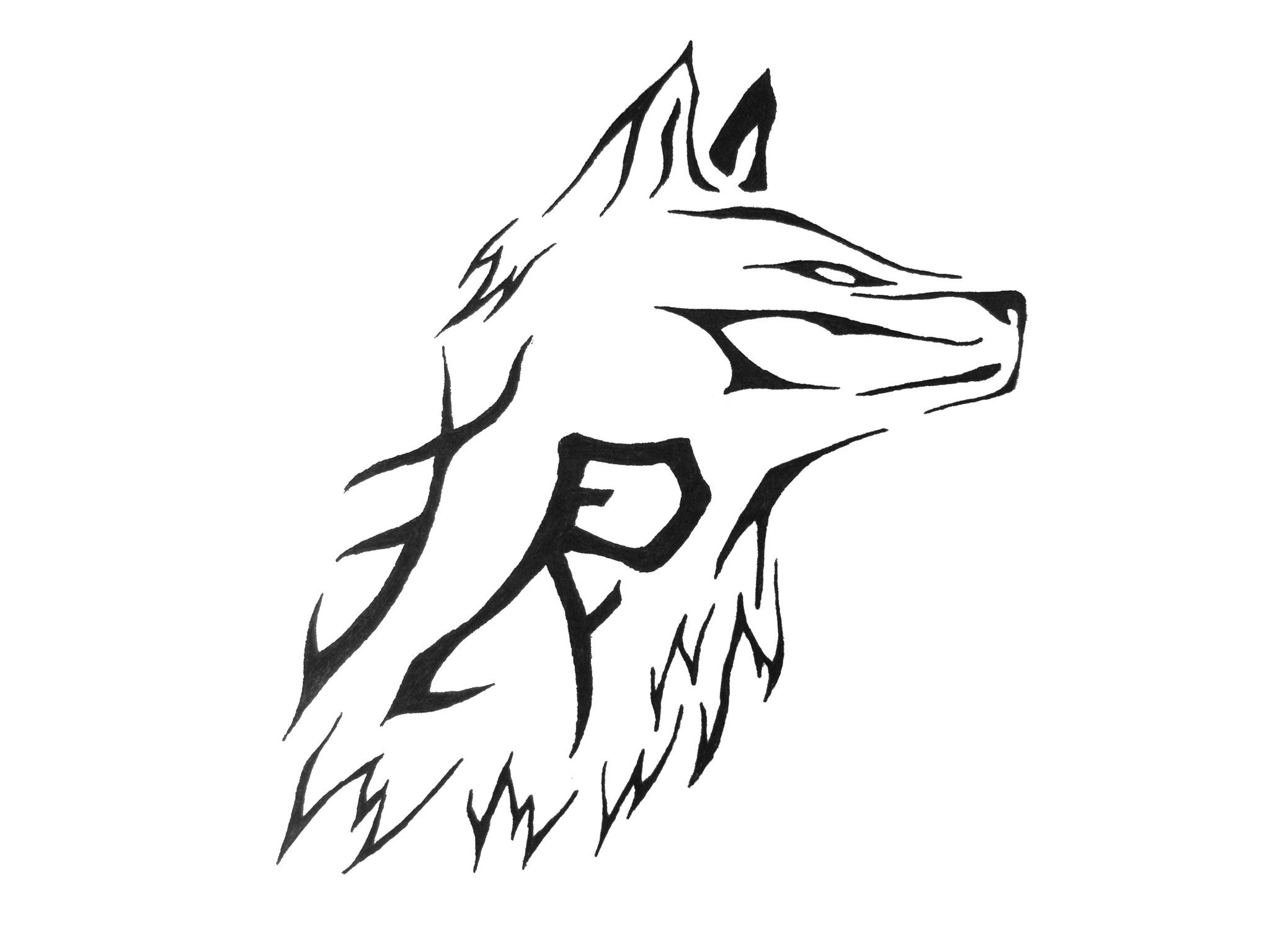 Simple Tribal Wolf Face Tattoo Design | Dövme fikirleri ...