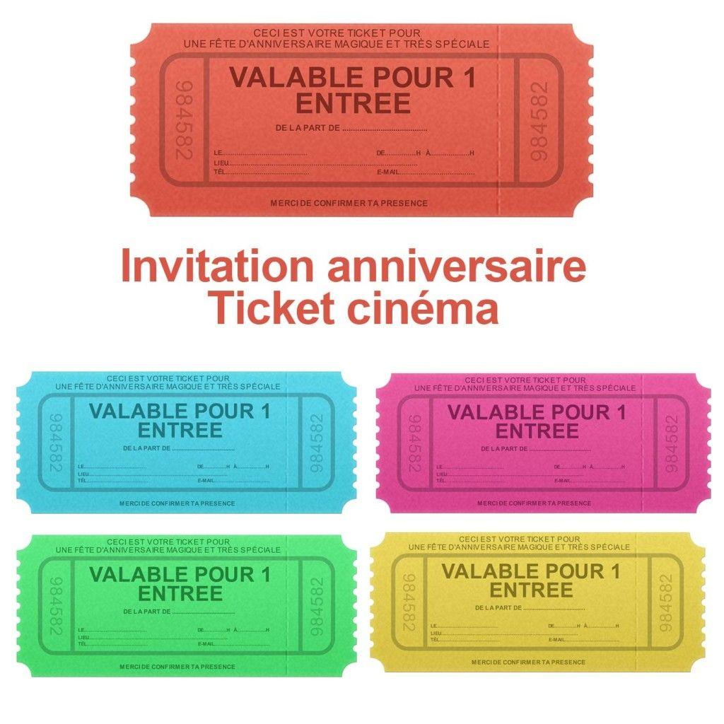 Invitation anniversaire ticket de cinéma | Cupcake et fête enfants | Pinterest | Cinema, Scrap ...
