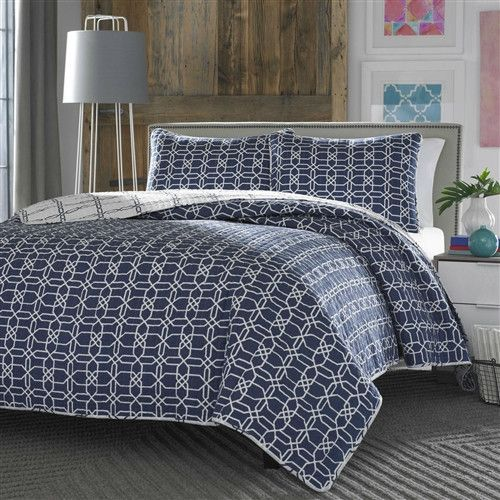 King Navy White Geometric Reversible Quilt Coverlet Bedspread Set | LoLuxe  Online Store | Pinterest | Bedspread And Products