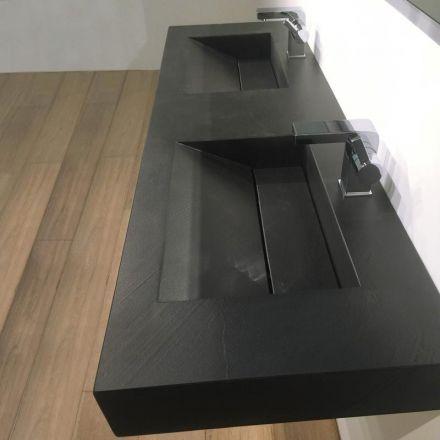 Pierre pizarra, Plan double vasque salle de bain suspendu 141x46 cm ...